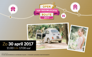 Open top trouwlocatie route zondag 30 april