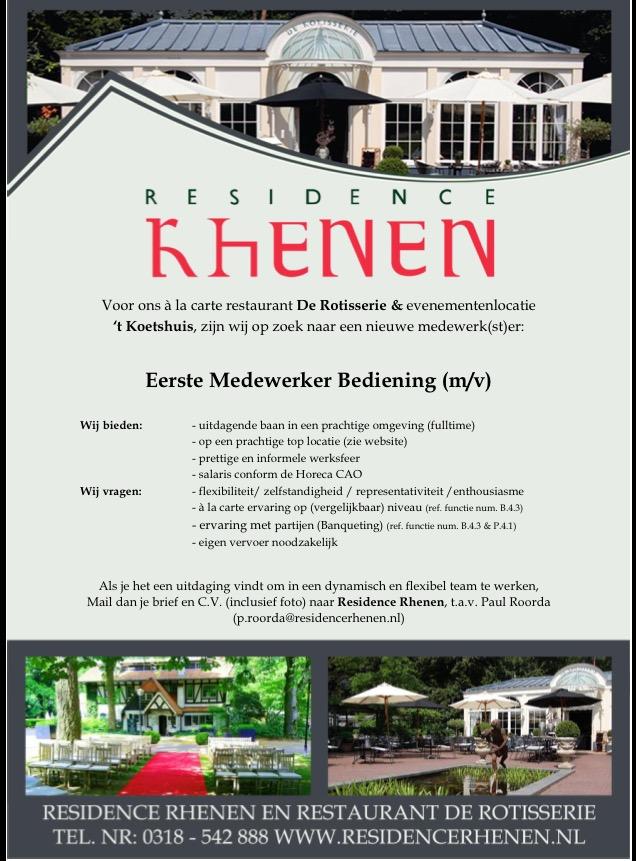 vacature residence rhenen